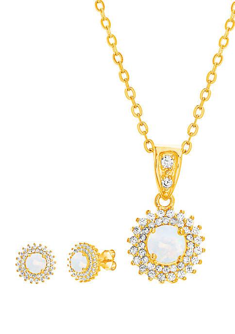 Belk Silverworks Gold Over Sterling Silver Opal Cubic