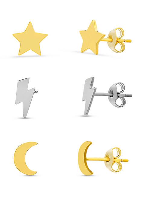 Sterling Silver Two Tone Lightening Bolt, Star & Moon Stud Earrings Set