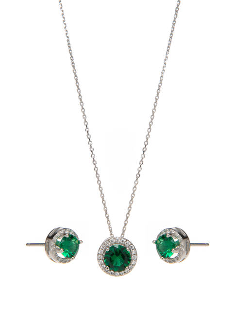 Sterling Silver Lab Created Emerald with Cubic Halo Earring and Necklace Set