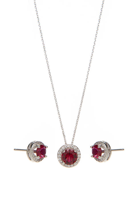 Sterling Silver Lab Created Ruby with Cubic Halo Earring and Necklace Set