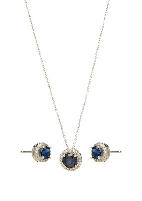 Sterling Silver Lab Created Blue Sapphire with Cubic Halo Earring and Necklace Set