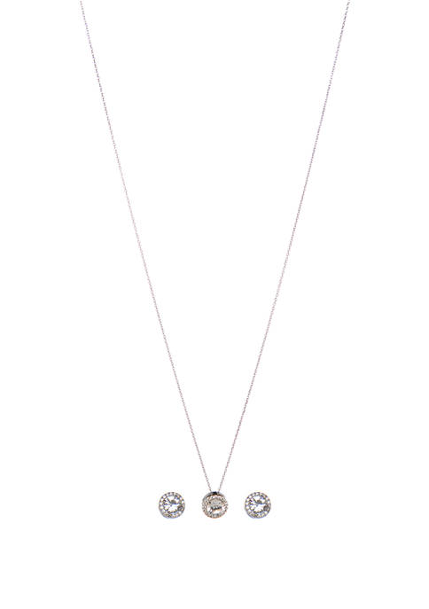 Sterling Silver Lab Created White Sapphire with CZ Accents Halo Earrings and Necklace Set