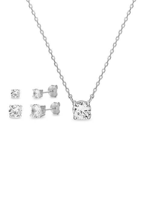 Belk Silverworks Sterling Silver Cubic Zirconium Stud Earrings