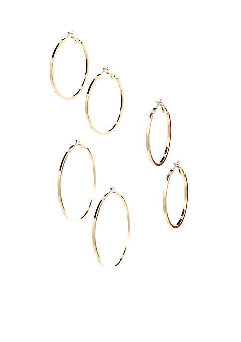 Trio Set of Gold Hoop Earrings