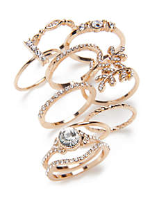 Gold-Tone Ring Set 10 Pack with Stones