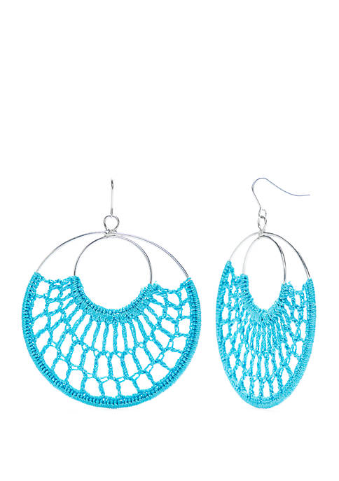Hoop Earring with Dream Catcher Cord