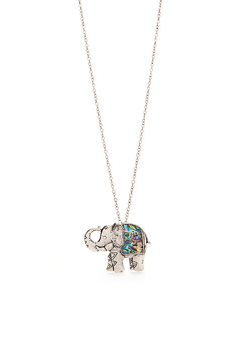 Silver-Tone Mother Of Pearl Elephant Pendant Necklace