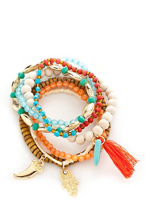Gold Tone Boho Brights 7 Piece Stretch Bracelet Set