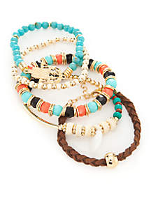 Gold-Tone 5-Piece Southwest Beaded Stretch Bracelet Set