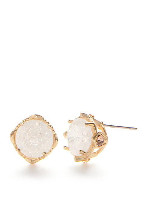 Belk Gold-Tone White Flower Stud Earrings