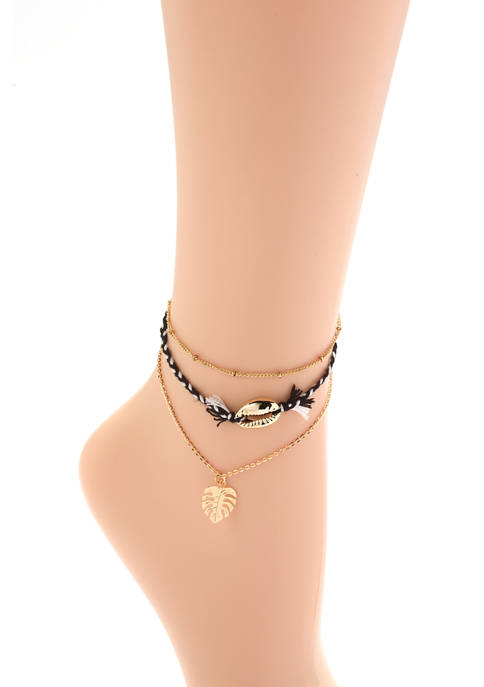 TRUE CRAFT Womens Set of 3 Anklets with