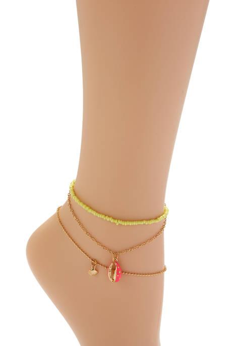 TRUE CRAFT Set of 3 Anklet Set with