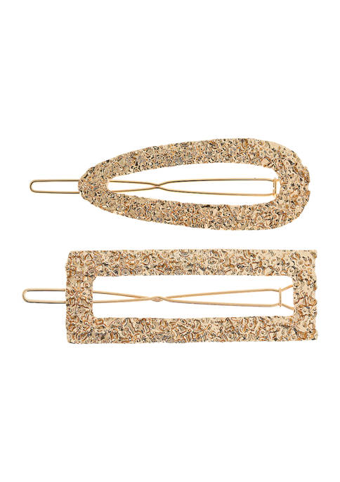Mixed Shape Textured Barrette Set
