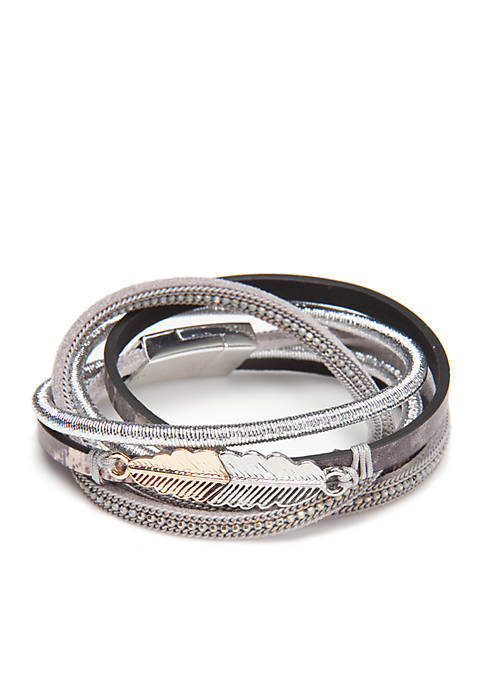Multi Strand Wrap Bracelet with Feather