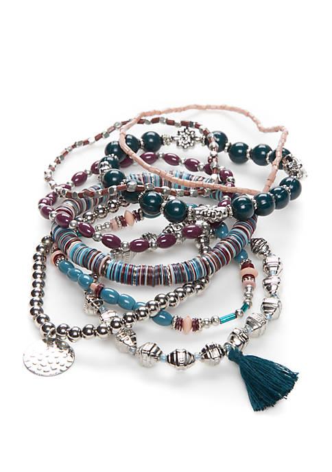 Silver Tone Winter Folk  Stretch Bracelet Set