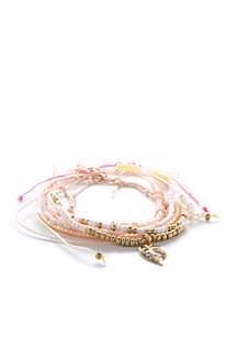 7-Piece Adjustable Chain and Seed Bead Bracelet Set