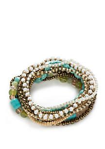 10-Piece Beaded Stretch Bracelet