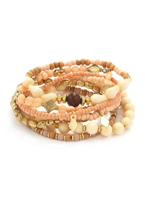 7-Piece Stretch Bracelet with Heart Beads