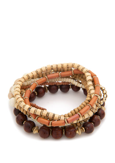 Set of 8 Stretch Bracelet with Seed Beads and Wooden Beads
