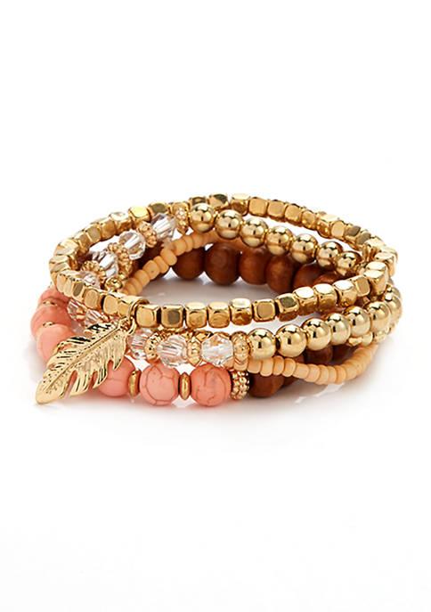 5 Piece Leaf Charm Bracelet Set