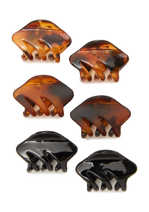 Set of 6 Wavy Shape Claw Clips
