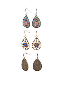 Two-Tone Tear Drop Earring Set