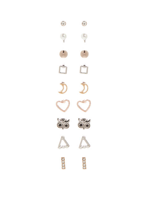 9 Piece Earring Set with Moon Heart Owl and Pearls
