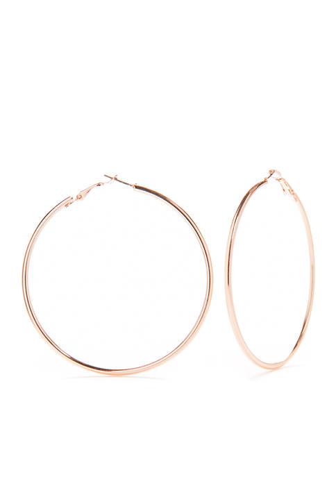 Large Spaghetti Clutchless Hoop Earrings