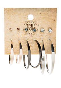 6 Pair Stud and Hoop Earring Set