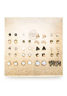 Pack of 20 Button Earring Set