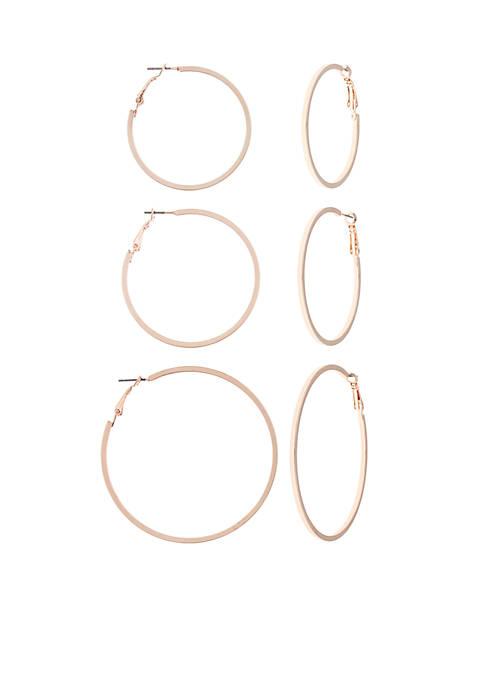 Rose Gold-Tone Trio Graduated Hoop Earrings Set