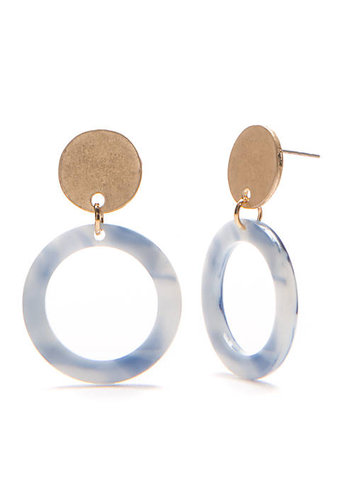 TRUE CRAFT Disc Post Marble Drop Earring