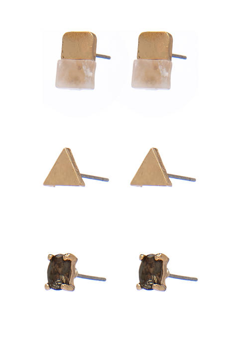 Set of 3 Stone and Triangle Stud Mixed Earrings