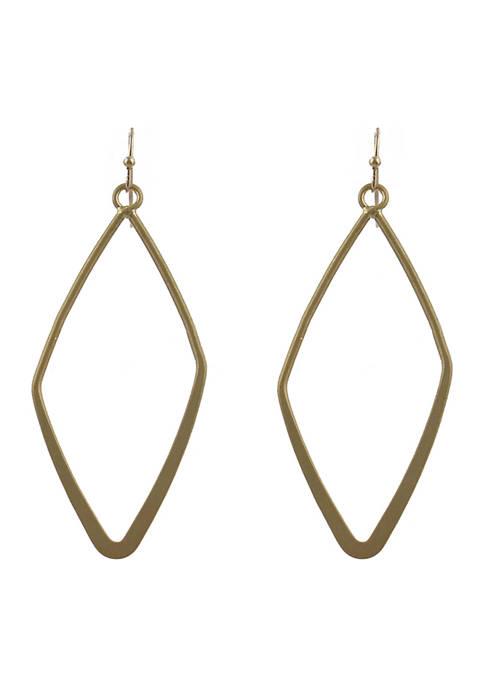 Open Work Diamond Shape Drop Earrings