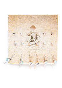 Stone Drop And Stud Earring Set
