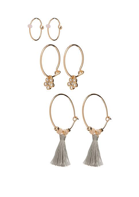Set of 3 Hoop Earrings with Tassels