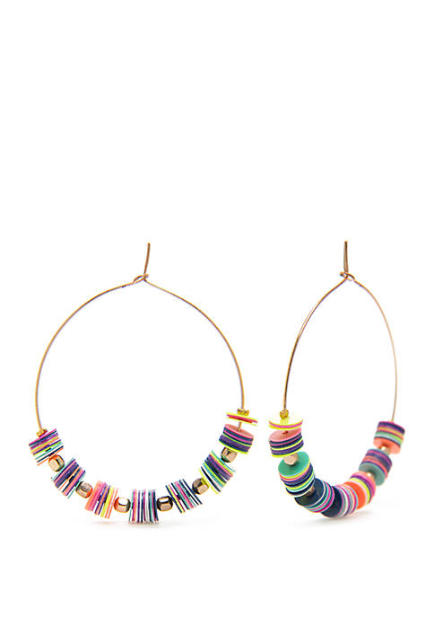Hoop Earrings With beads And Flat Discs