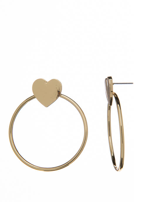 Heart and Open Circle Drop Earrings