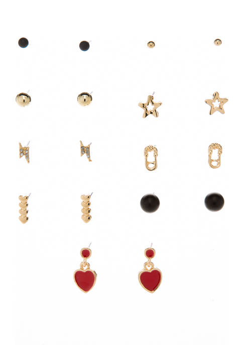 Set of 9 Star and Hearts Earring Set
