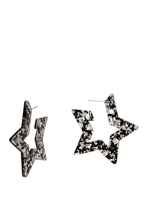 Womens Hoop Earrings with Open Star