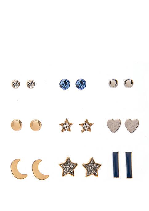 Womens Set of 9 Earrings with Star Moon and Heart