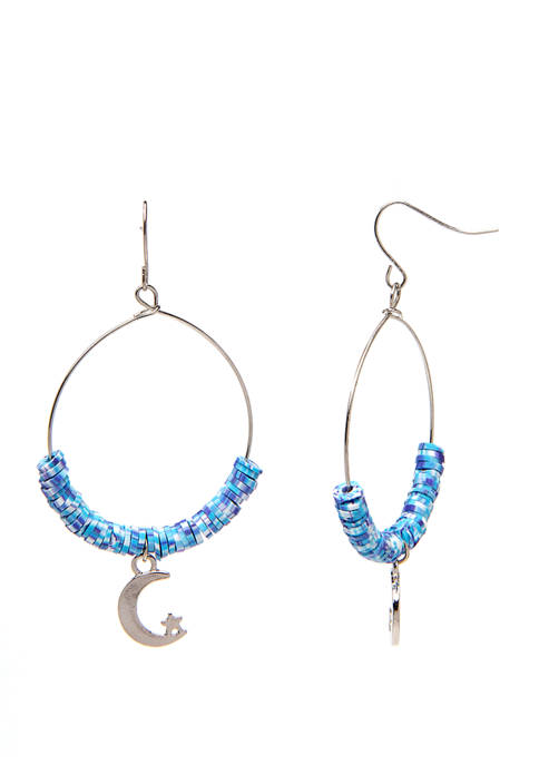 Womens Frontal Hoop Drop Earring with Moon Charm