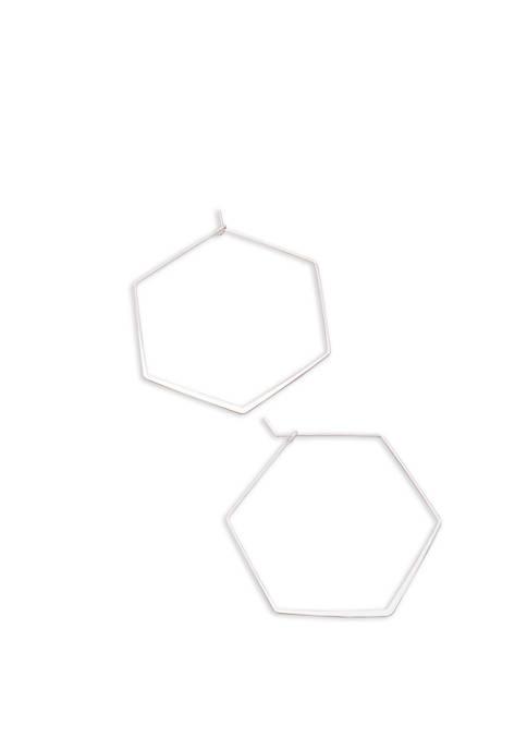 Womens Hexagon Hoop Earrings