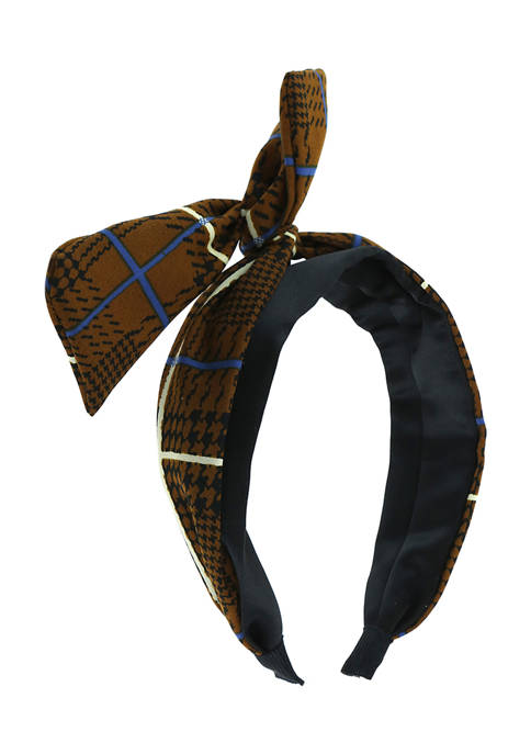 TRUE CRAFT Satin Covered Plaid Print Headband