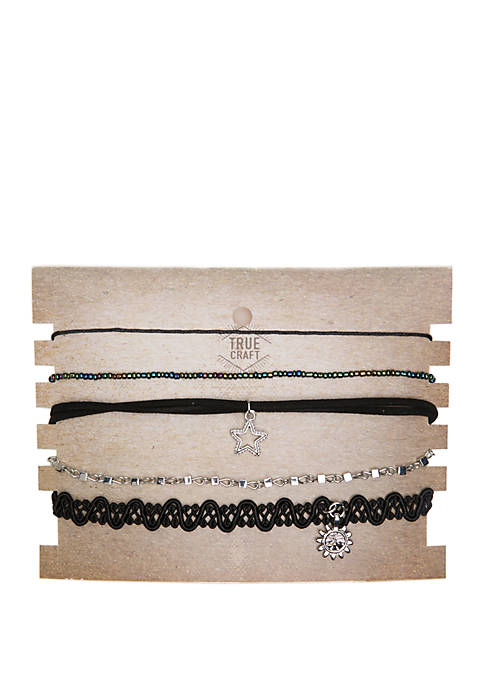 5 Piece Choker Set With Moon And Stars Charms