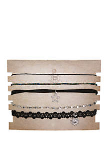 TRUE CRAFT 5 Piece Choker Set With Moon And Stars Charms