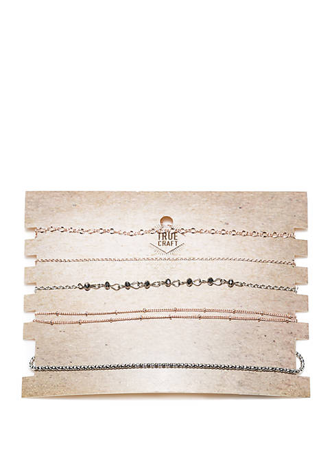 5-Piece Mixed Chain and Beads Choker Necklace Set