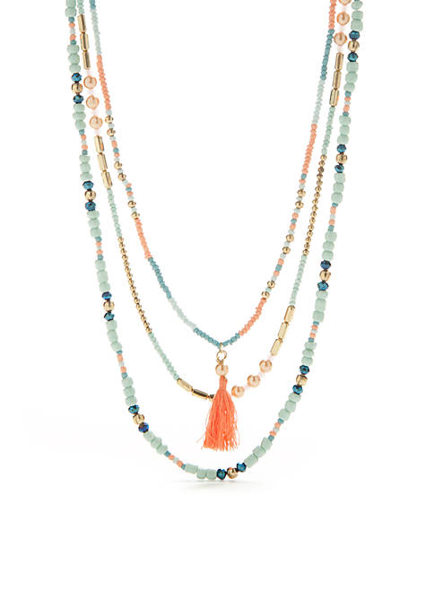 TRUE CRAFT Gold-Tone Layered Necklace With Mixed Beading