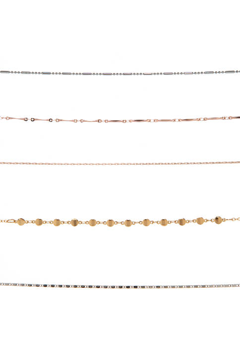 Mixed Delicate Chain Choker Necklace 5 Pack