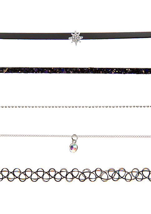 5 Piece Choker Necklace Set with Starburst Charms